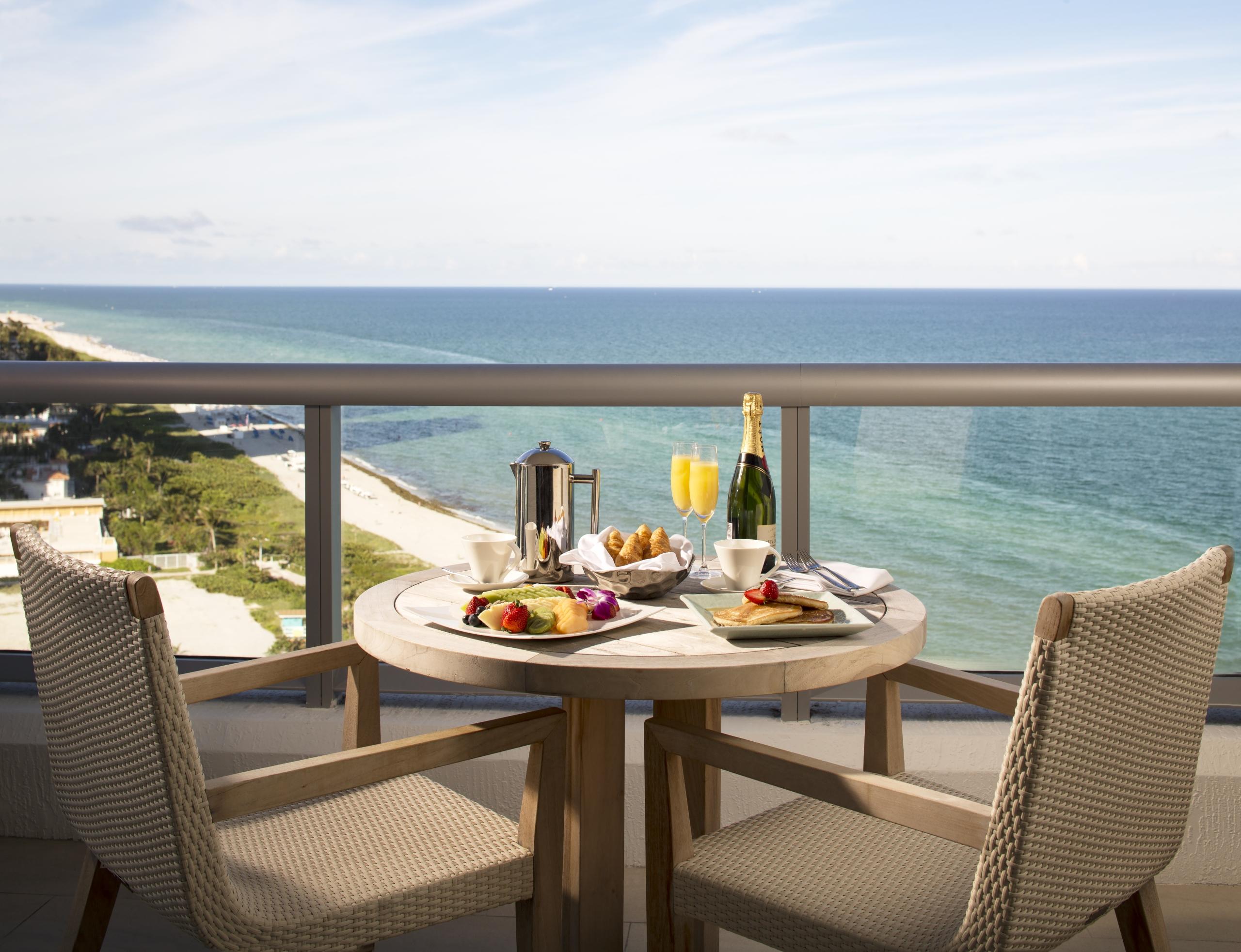 Champagne breakfast on a balcony