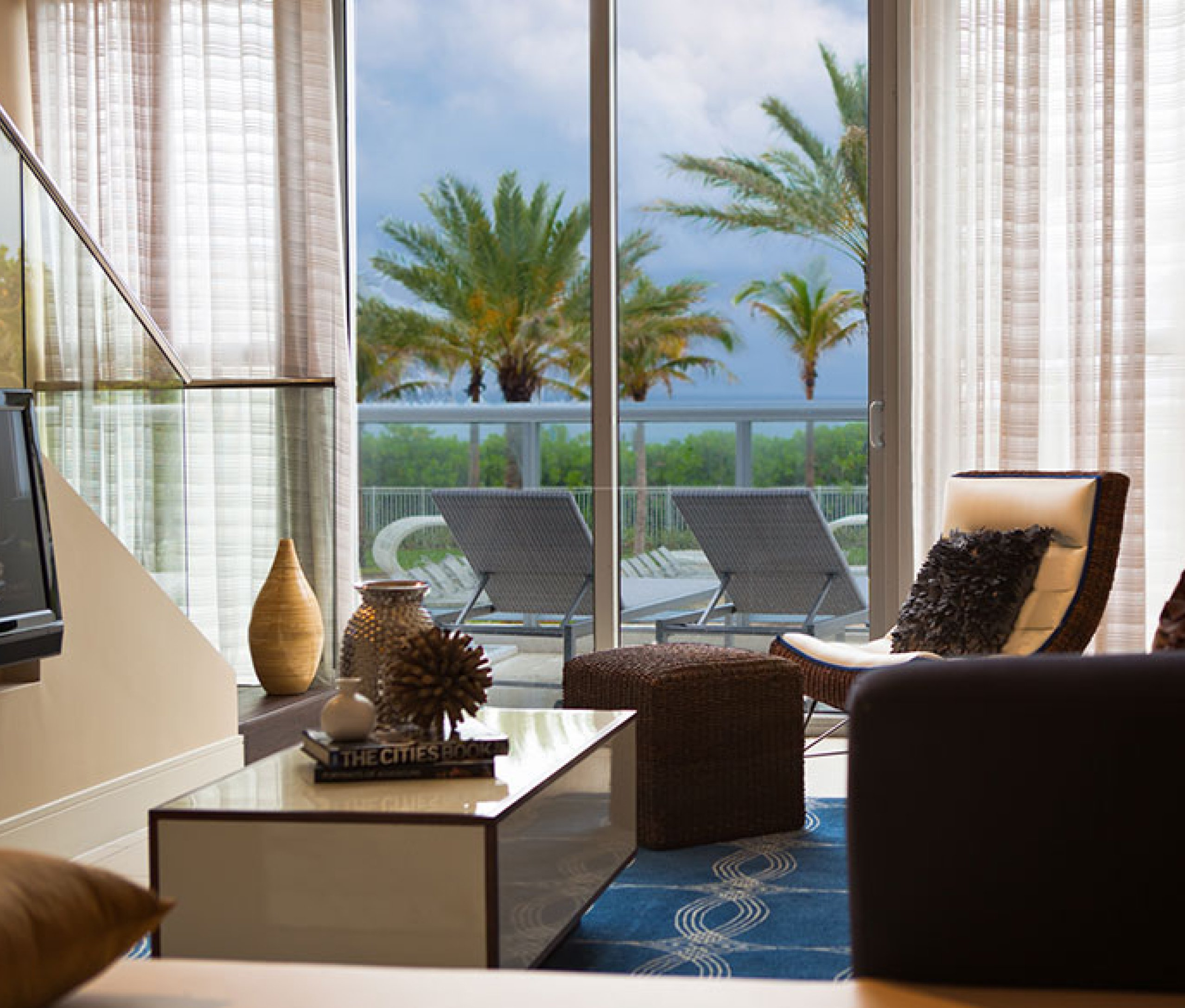 View from a window of a deluxe bay view room at Eden Roc