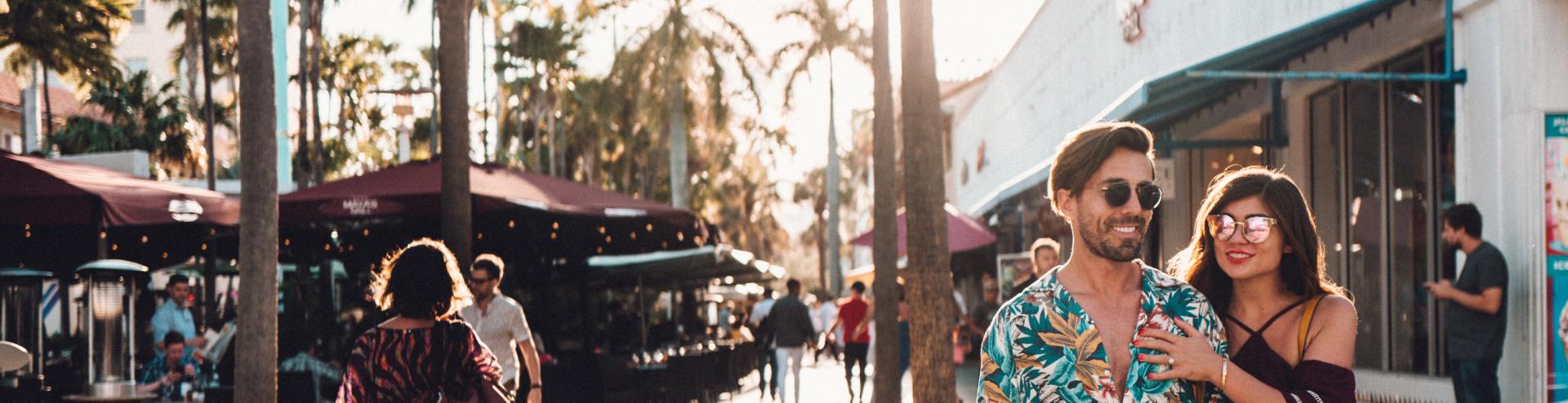 A couple exploring Miami Beach