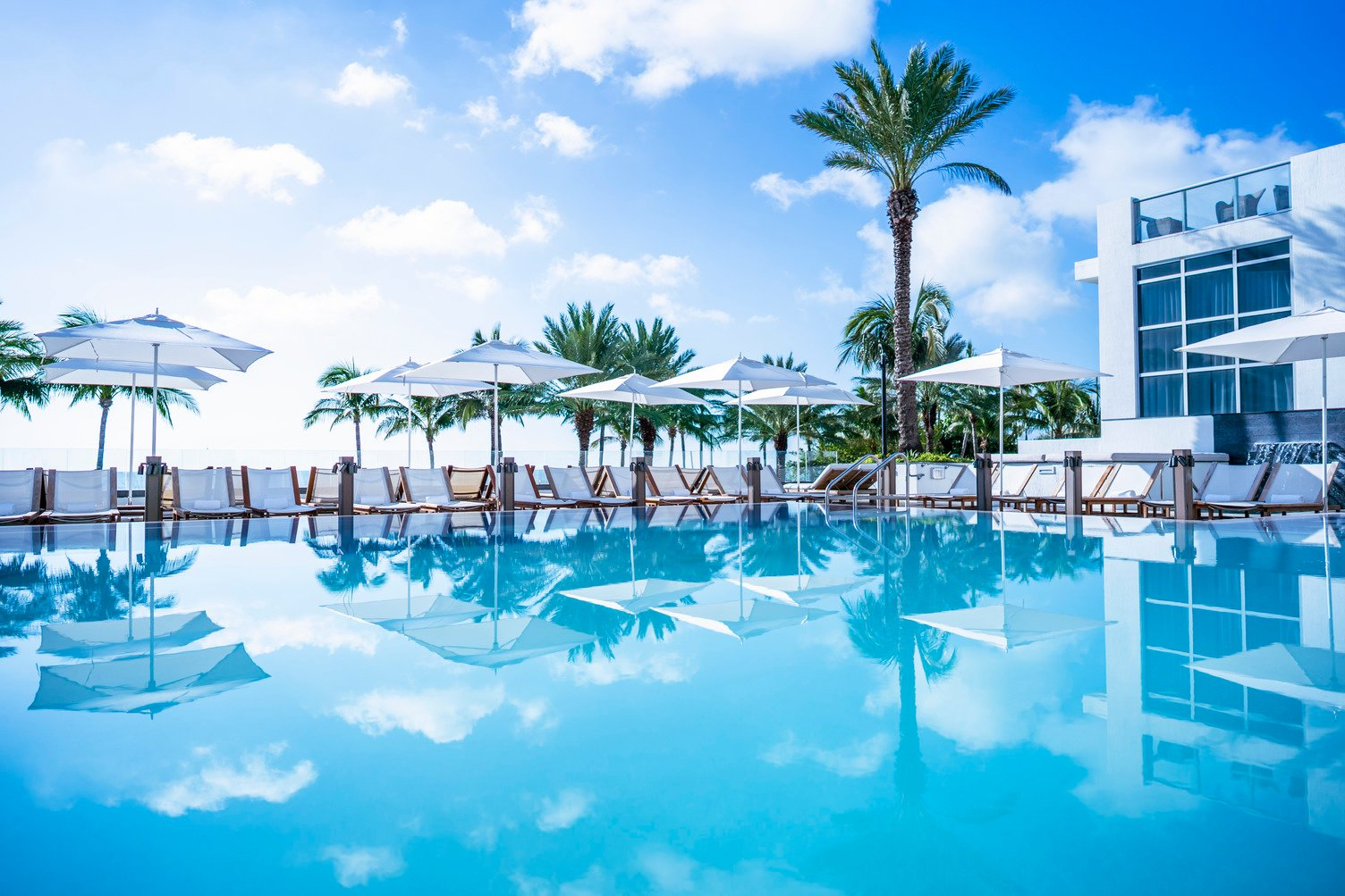 A stunning pool with an ocean view at Eden Roc