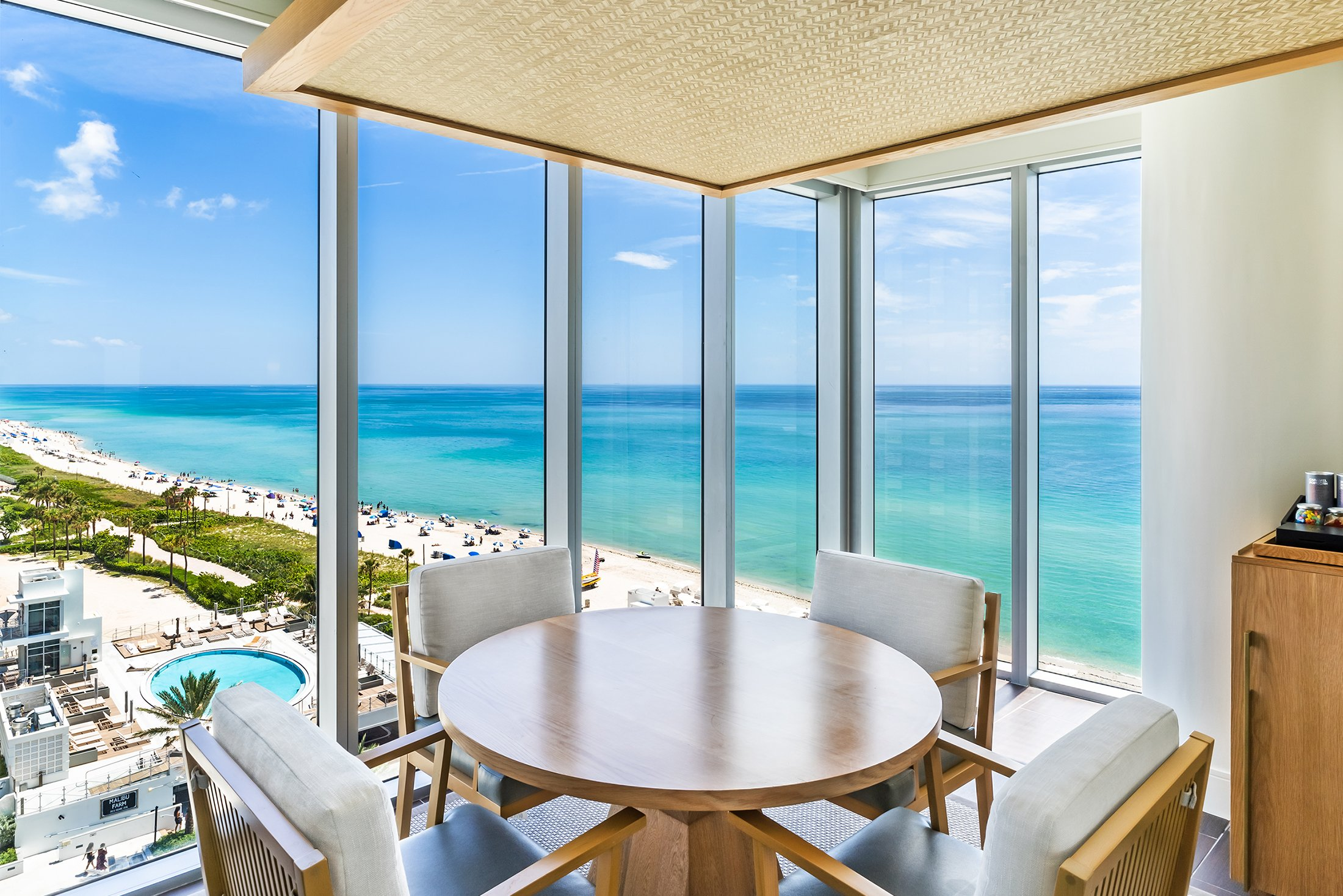 A view of the beach from a room at Eden Roc